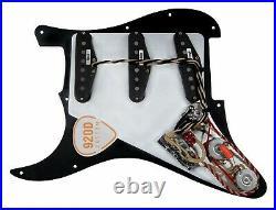 920D Custom Fiesta DG Pickups BLACK/WHITE Loaded Pickguard for Fender Strat