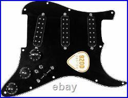 920D Fiesta Polyphonics BLACK Loaded Pickguard 7-Way/2-Toggle for Fender Strat