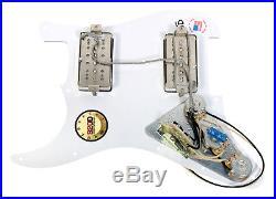 920D Loaded HH Pickguard Fender Strat Duncan Phat Cat, Nickel White Pearl