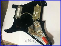 Black Dimarzio Humbucker Loaded Strat Pickguard- Air Norton and Bluesbucker