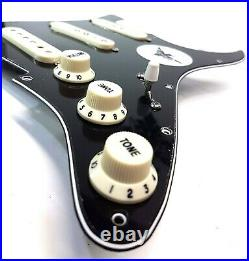 Carparelli Pre Wired Fully Loaded Drop In 11 hole Strat SSS Black 3ply Pickguard