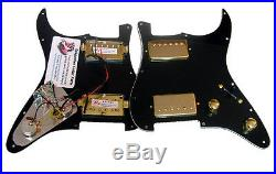 Dragonfire Prewired-Loaded Strat Pickguard HH 2 Humbucker, 3 Ply Black/Gold