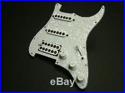 Dragonfire Prewired-Loaded Strat Pickguard, HSS Crusaders White Pearl with White