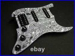 Dragonfire Prewired-Loaded Strat Pickguard HSS, White/ Black Abalone with Black