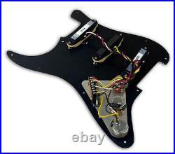 Dragonfire Prewired-Loaded Strat Pickguard SSS 3Ply Black Guard with Cream Pickups