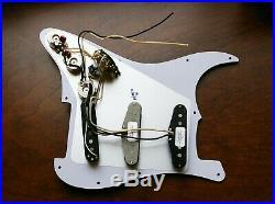 Fender Fat 50s, 69, Duncan SSL5 Loaded Strat Pickguard 7 Way Parchment on Black