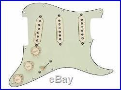 Fender Hot Noiseless Jeff Beck Loaded Strat Pickguard Aged White on Mint Green