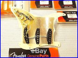 Fender Hot Noiseless Loaded Strat Pickguard Cream on Black 1 ply 7 Way USA