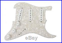 Fender Loaded Strat Pickguard CS Texas Special White on White Pearl 7 Way USA
