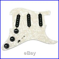 Fender Tex-Mex Pickup Loaded Strat Pickguard Black on White Pearl 7 Way Switch