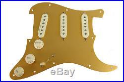 Fender Vintage Noiseless Loaded Strat Pickguard Aged White Gold Anodized 8 Hole