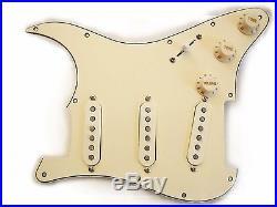 Fender Vintage Noiseless Loaded Strat Pickguard TBX Mid Boost All Aged Cream