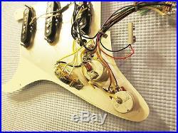 Fender Vintage Noiseless Loaded Strat Pickguard TBX Mid Boost Cream on White USA