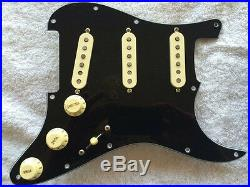 Lindy Fralin Loaded Prewired Strat Pickguard High Output Aged Cream on Black