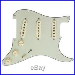 Lindy Fralin Loaded Prewired Strat Pickguard Real 54's Aged White on Mint Green