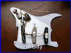 Loaded Strat Pickguard Duncan SSL5, Fender 69, Fat 50's Aged Cream on Mint 7 Way