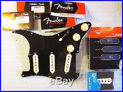 Loaded Strat Pickguard Duncan SSL5, Fender 69, Fat 50s White on Black 7 Way USA