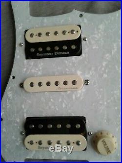 Loaded Strat Pickguard HSH withZebra Pearly Gates set plus Fender Hot Noiseless