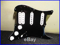 New Fender Lone Star Loaded Strat Pickguard HSS Pearly Gates White on Black USA