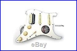 New Fender ShawBucker Loaded HSS Strat Pickguard CS 69 Pickups Zebra on White