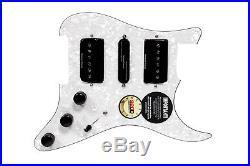Seymour Duncan HSH P-Rails Loaded Strat Pickguard White Pearl / Black